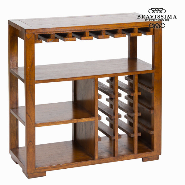 Bottle Rack Mindi Wood (82 X 80 X 35 Cm) - Serious Line Collection By Bravissima Kitchen