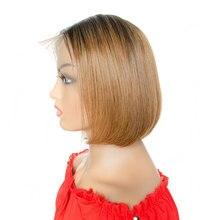 13x4 кружева спереди прямой парик вырезать эльфа Короткий боб парики 100% ломбер 1В/30 Реми человеческого волоса предварительно перебирают парики Tinashe красоты волос