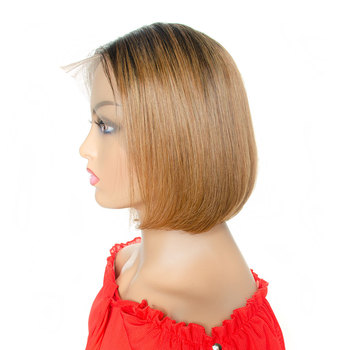 13x4 Lace Front Straight Wig Pixie Cut Short Bob Wigs 100% Ombre 1B/30 Remy Human Hair Pre-Plucked Wigs Tinashe Beauty Hair