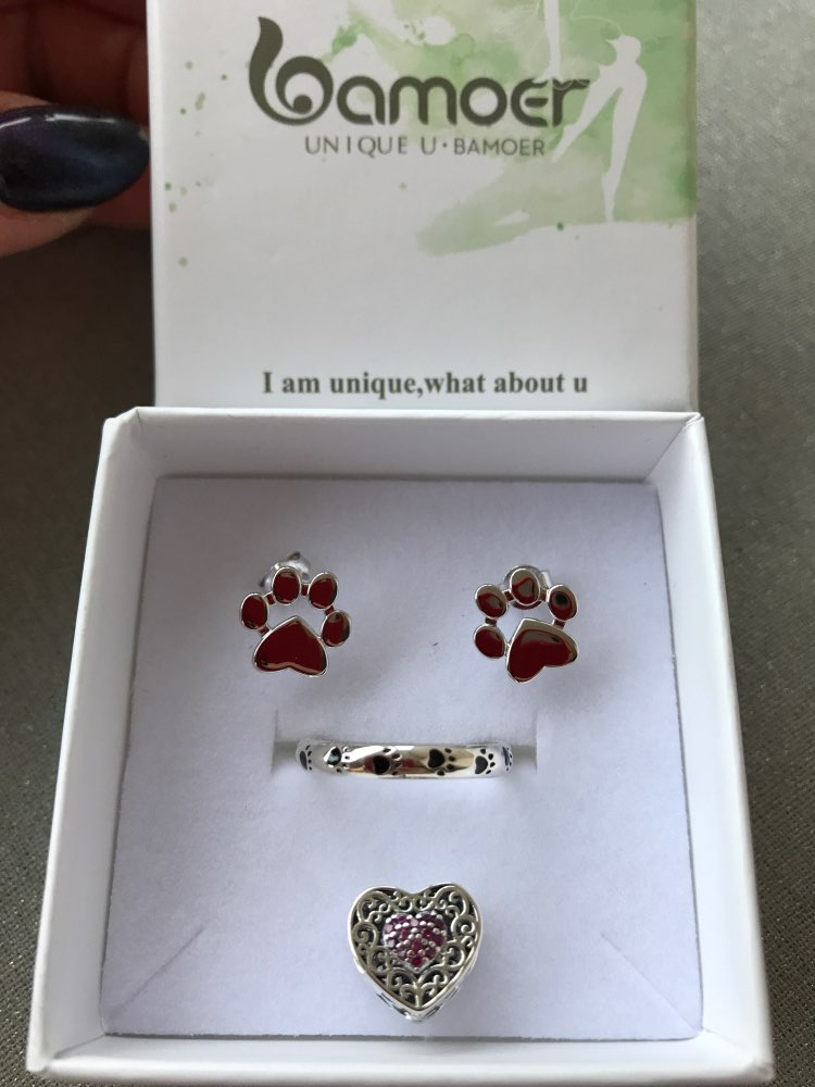 925 Sterling Silver Dog Footprints Finger Ring