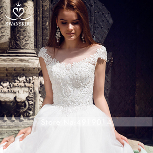 Image 2 - Beaded Appliques Wedding Dress 2020 Swanskirt Scoop Illusion Ball Gown Princess Court Train Bridal gown Vestido de noiva F223