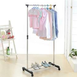Einzigen stehend kleidung rack boden rack verlängerung und mobile muiltifunctional rack auf rädern edelstahl