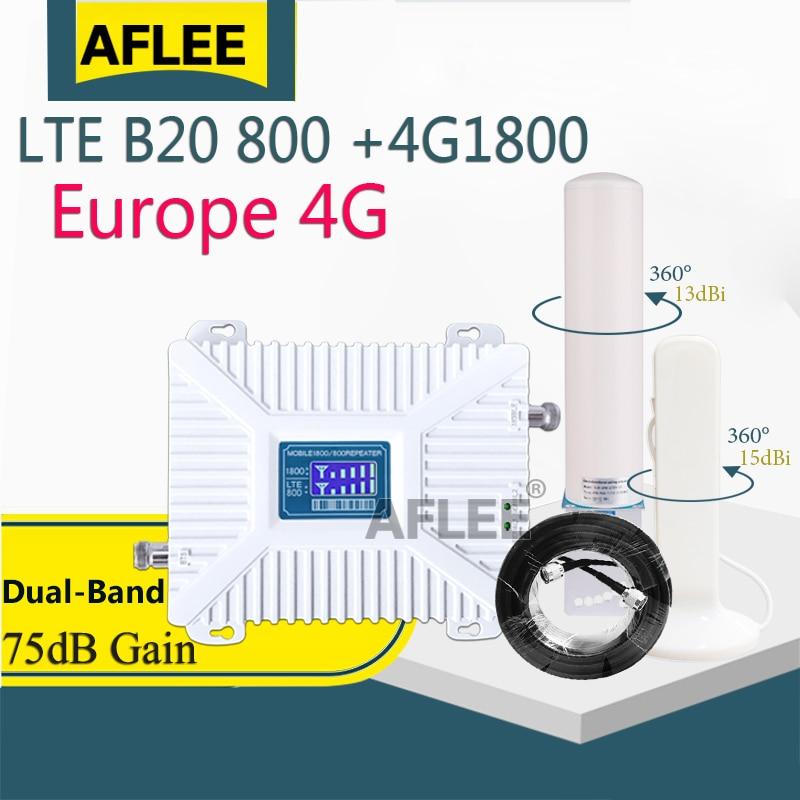 Amplificateur de réseau 4G LTE, bande 20, 800, 1800, double bande, GSM, 1800, répéteur de Signal pour téléphone portable