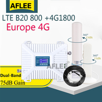 4G Cellularamplifier Lte Band 20 800 1800 Dual Band Mobiele Signaal Booster Gsm Lte 1800 Mobiele Telefoon Cellulaire Signaal repeater Set