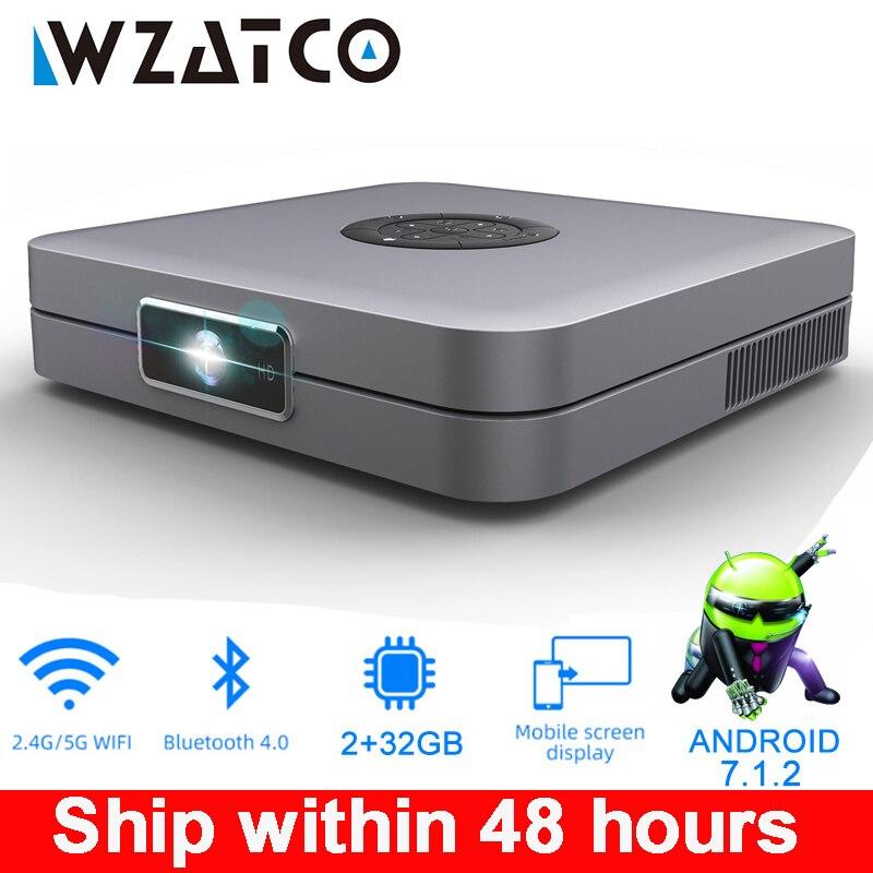 Projecteur WZATCO D1 DLP 300 pouces prise en charge du cinéma maison Full HD 1920x1080P,32GB Android 5G WIFI AC3 vidéoprojecteur 3LED MINI projecteur