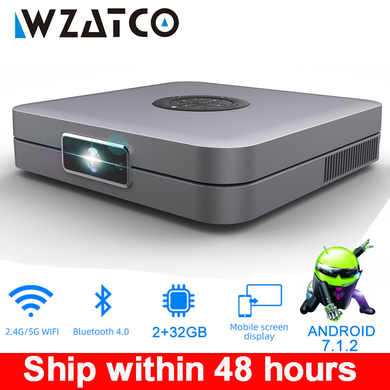 WZATCO D1 DLP Projector 300inch Home Cinema support Full HD 1920x1080P,32GB Android 5G WIFI AC3 Video Beamer 3LED MINI Projector(China)