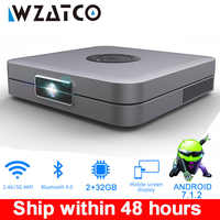 WZATCO D1 DLP Projector 300inch Home Cinema support Full HD 1920x1080P,32GB Android 5G WIFI AC3 Video Beamer 3LED MINI Projector