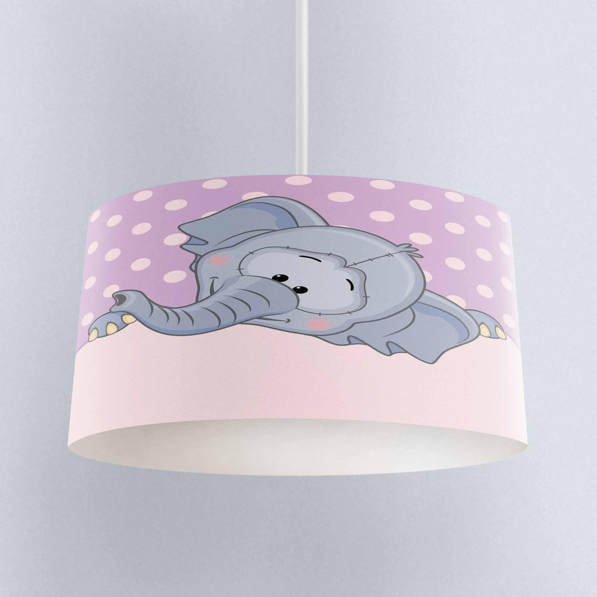 Else Purple Floor White Dots Gray Elephant Print Fabric Kids Chandelier Lamp Drum Lampshade Floor Ceiling Pendant Light Shade