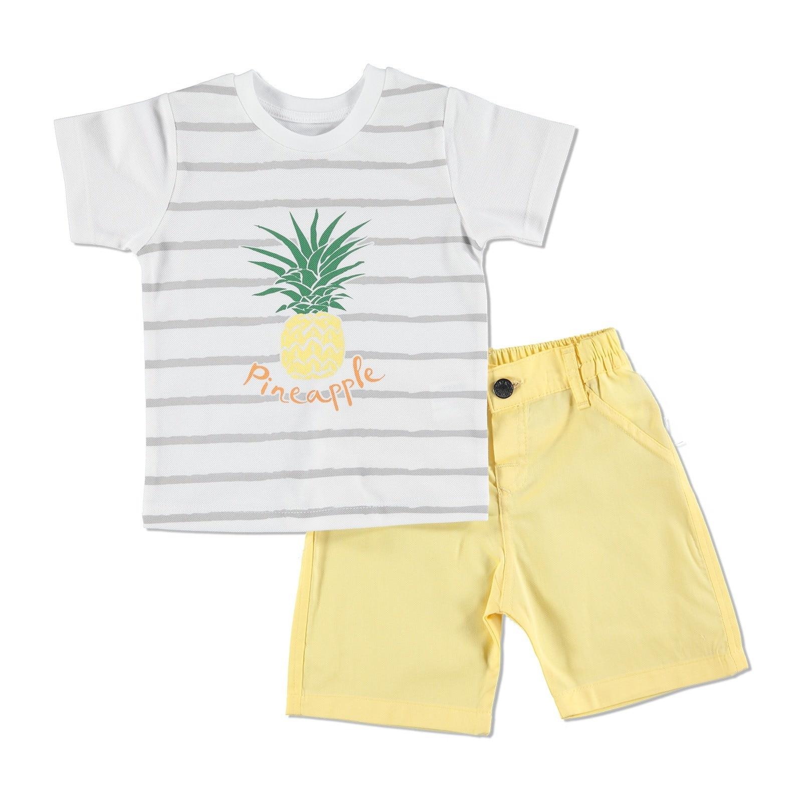 Ebebek HelloBaby Baby Boy Pineapple Theme Tshirt Short Set