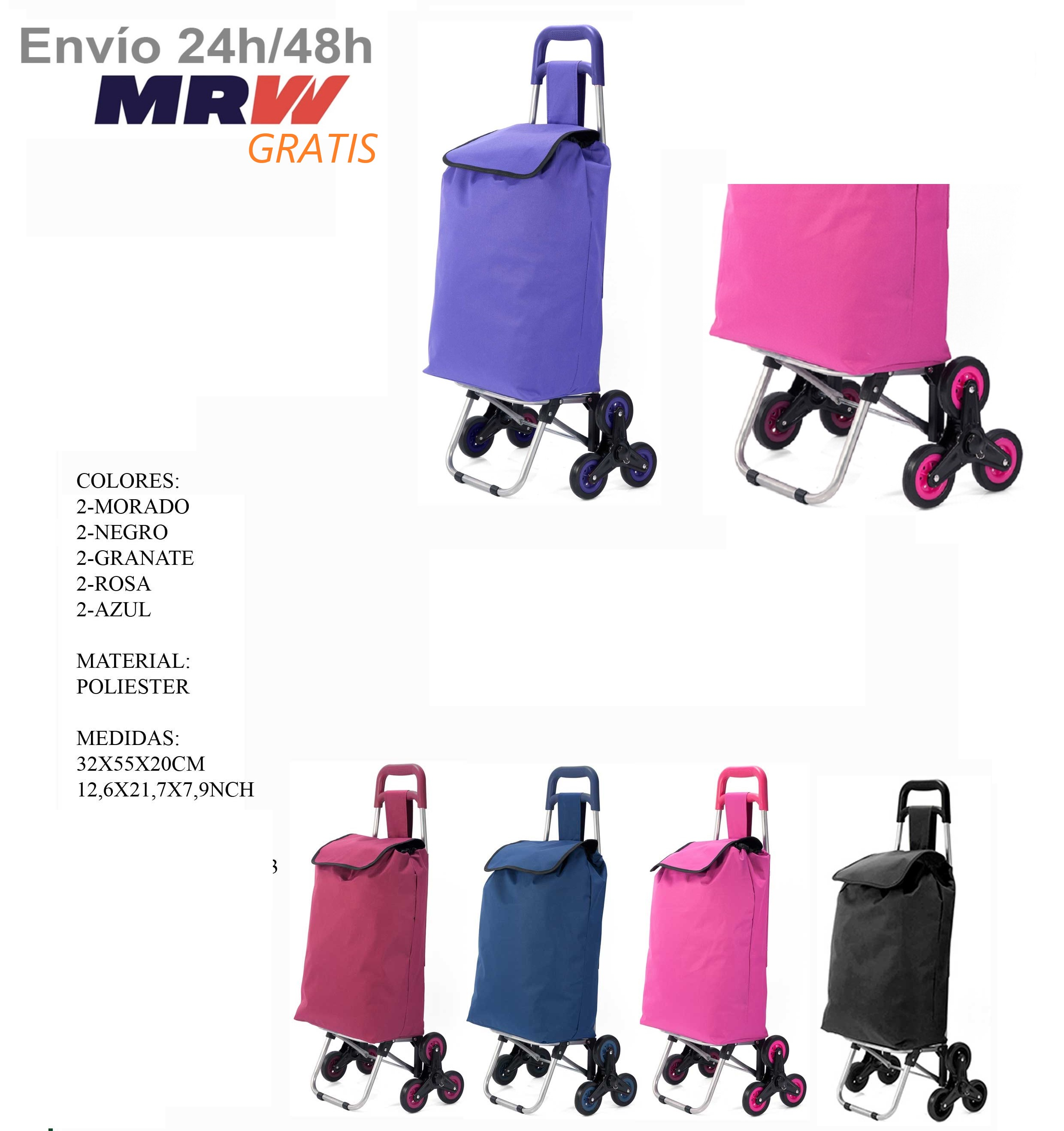 Trolley Polyester Folding Shopping Trolley For Over Age Climbing Stairs With Triple Light Wheel Wheels Top
