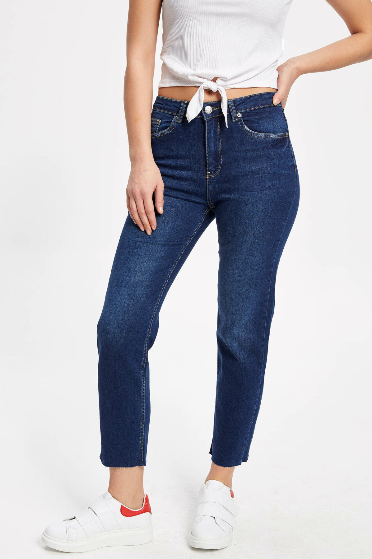 DeFacto Blue Women Jeans Skinny High-waist Pant Slim Stretch Cotton Pencil Denim Nine Minutes Trousers Woman-K3808AZ18CW-K3808AZ18CW