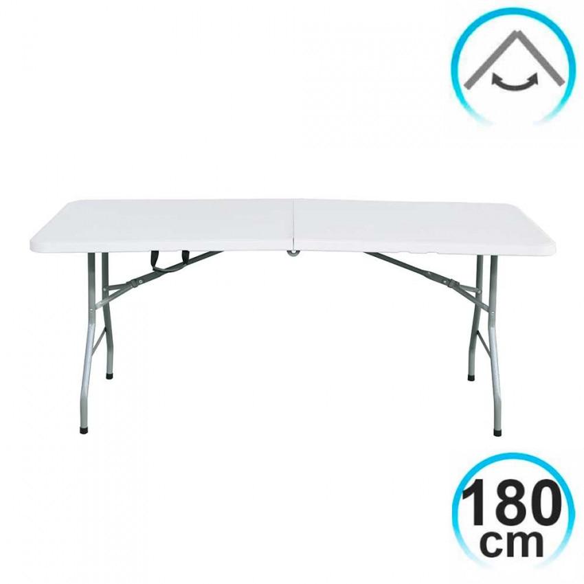 Tavolo pieghevole 180 centimetri Rettangolare Bianco Caterers GH91