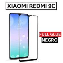 Закаленное стекло протектор Полный Клей для XIAOMI REDMI 9C полный клей черный дисплей REDMI9C MI 6,53