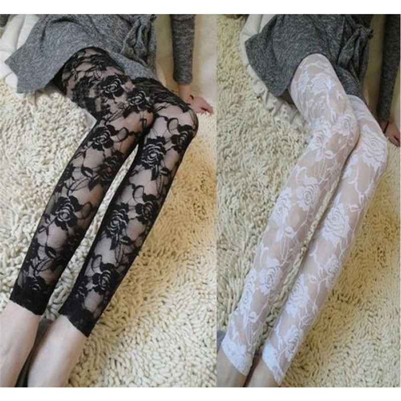 Sexy Lace Leggings Women Rose Lace Elegant See Through Leggings Pants Black White Women Summer Skinny Pencil Pants