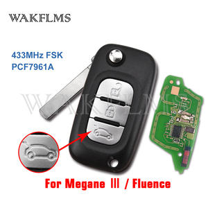 Image 1 - 3 Buttons 433MHz PCF7961A Chip Filp Remote Car Key Fob For Renault Fluence Megane III Auto Accessories Replacement