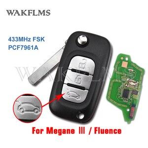 Image 1 - 3 tasten 433MHz PCF7961A Chip Filp Remote Auto Key Fob Für Renault Fluence Megane III Auto Zubehör Ersatz
