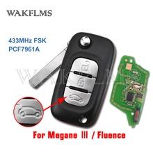 Clé télécommande à 3 boutons, 433MHz, transpondeur PCF7961A, plug in, pour voiture Renault Fluence, Megane III, accessoires de remplacement