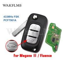 Mando a distancia de coche para Renault Fluence Megane III, 3 botones, 433MHz, PCF7961A