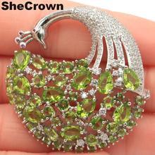 43x42mm Beautiful 13.4g Flowers Shape Created Green Peridot CZ Wedding European 2019 Silver Brooch