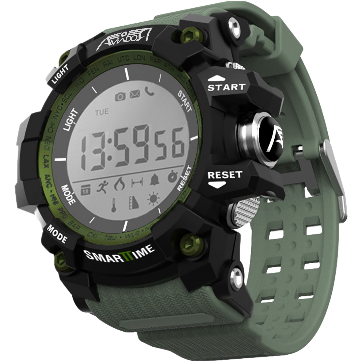 <font><b>Watch</b></font> Aviator Smarttime Generic Green In <font><b>52mm</b></font> AV-1220 Aviator image