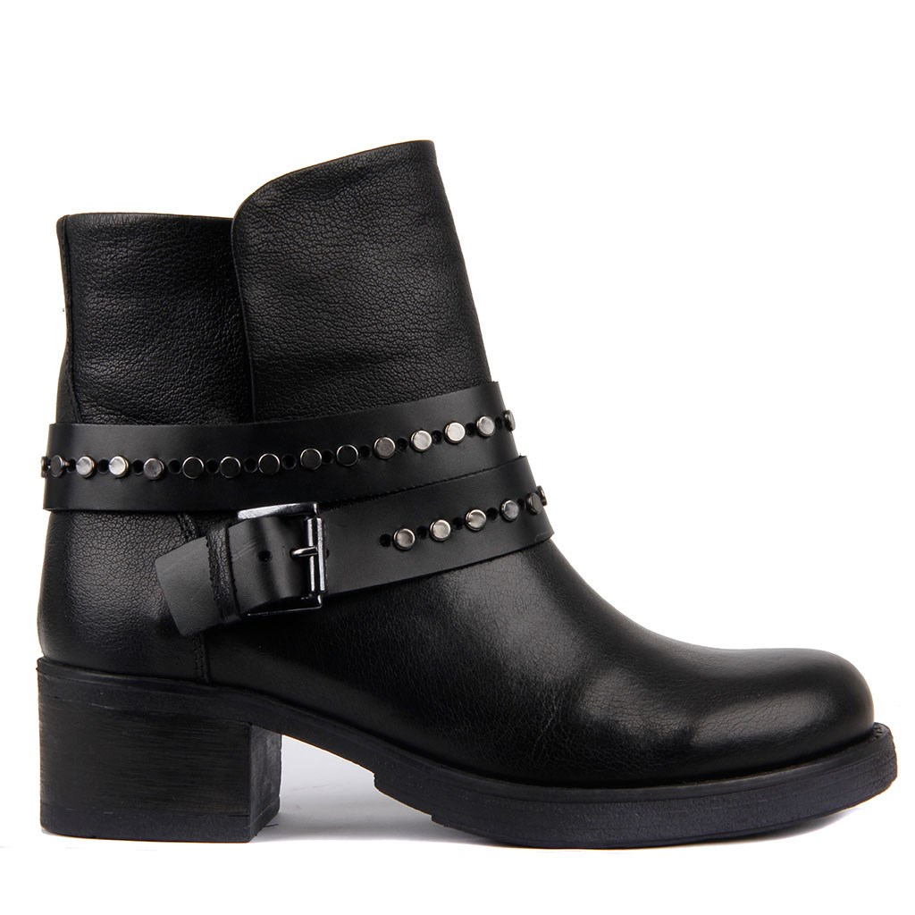 Sail Lakers-Black Belt Genuine Leather Women's Boots Autumn Winter Boots Shoes Woman Fashion Round Toe Zipper Combat Ladies Shoes Casual Spring Female Ankle Boots Size 36-40 2019 Hot New