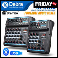 Debra M-4/6 portátil Mini Mezclador Audio DJ consola con tarjeta de sonido, USB, 48V Phantom Power para PC grabar cantar fiesta Webcast