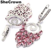 Pink Tourmaline, Blue Aquamarine, Citrine, CZ Ladies Woman's Wedding 925 Gold Silver Earrings 35x20m