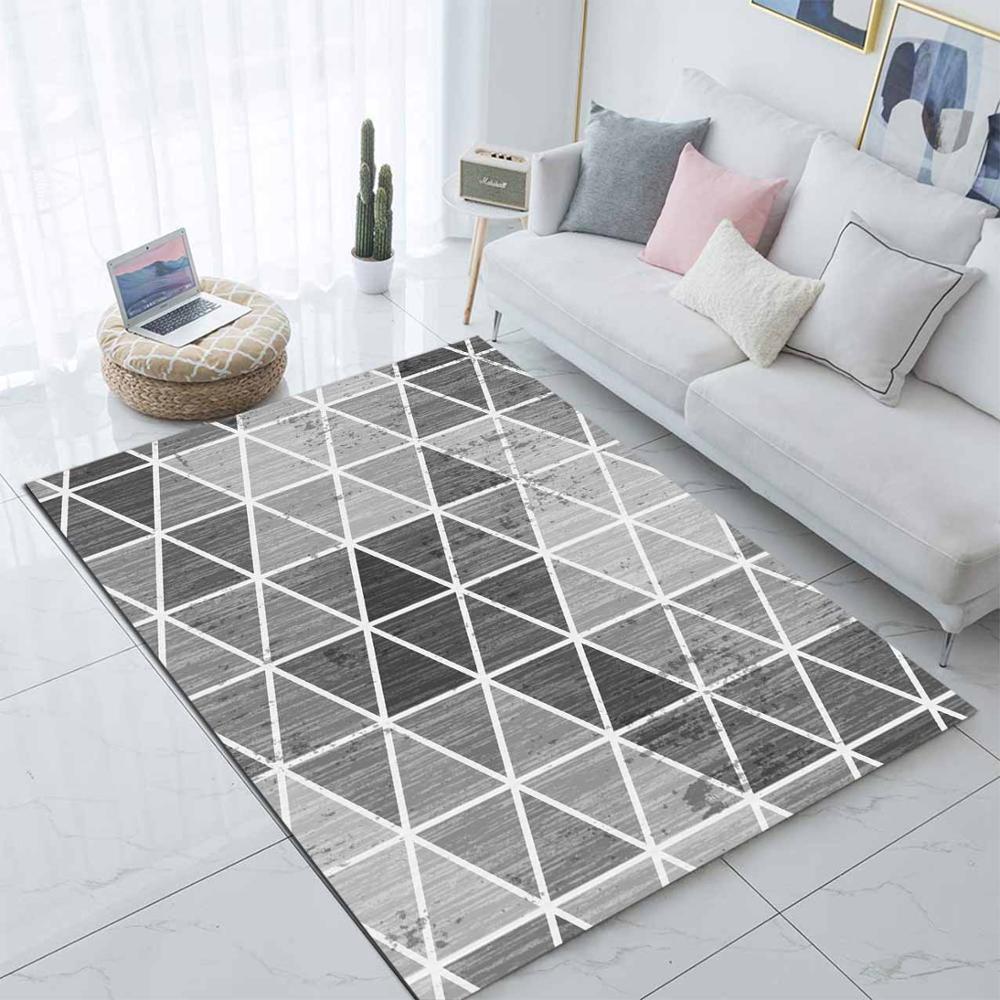 Else Gray White Boxes Geometric Stripes 3d Print Non Slip Microfiber Living Room Decorative Modern Washable Area Rug Mat