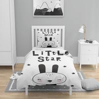 Mais 4 pçs preto branco little star coelho 3d impressão de algodão cetim crianças capa edredão conjunto cama fronha folha Capa de edredom Casa e Jardim -