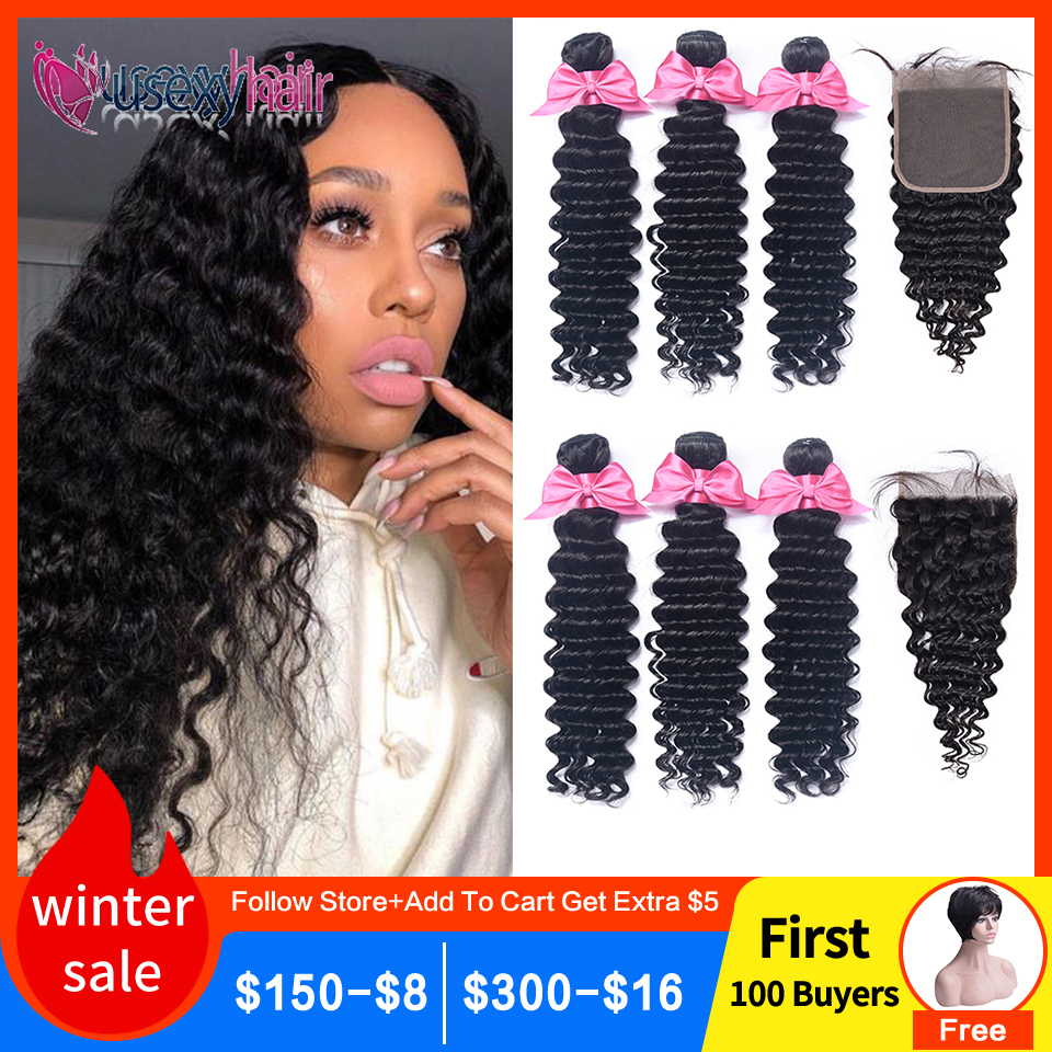 Brazilian Deep Wave Bundles With Closure Remy Human Hair 3 And 4 Bundles With Lace Closure Natural Color Human Hair Extensions