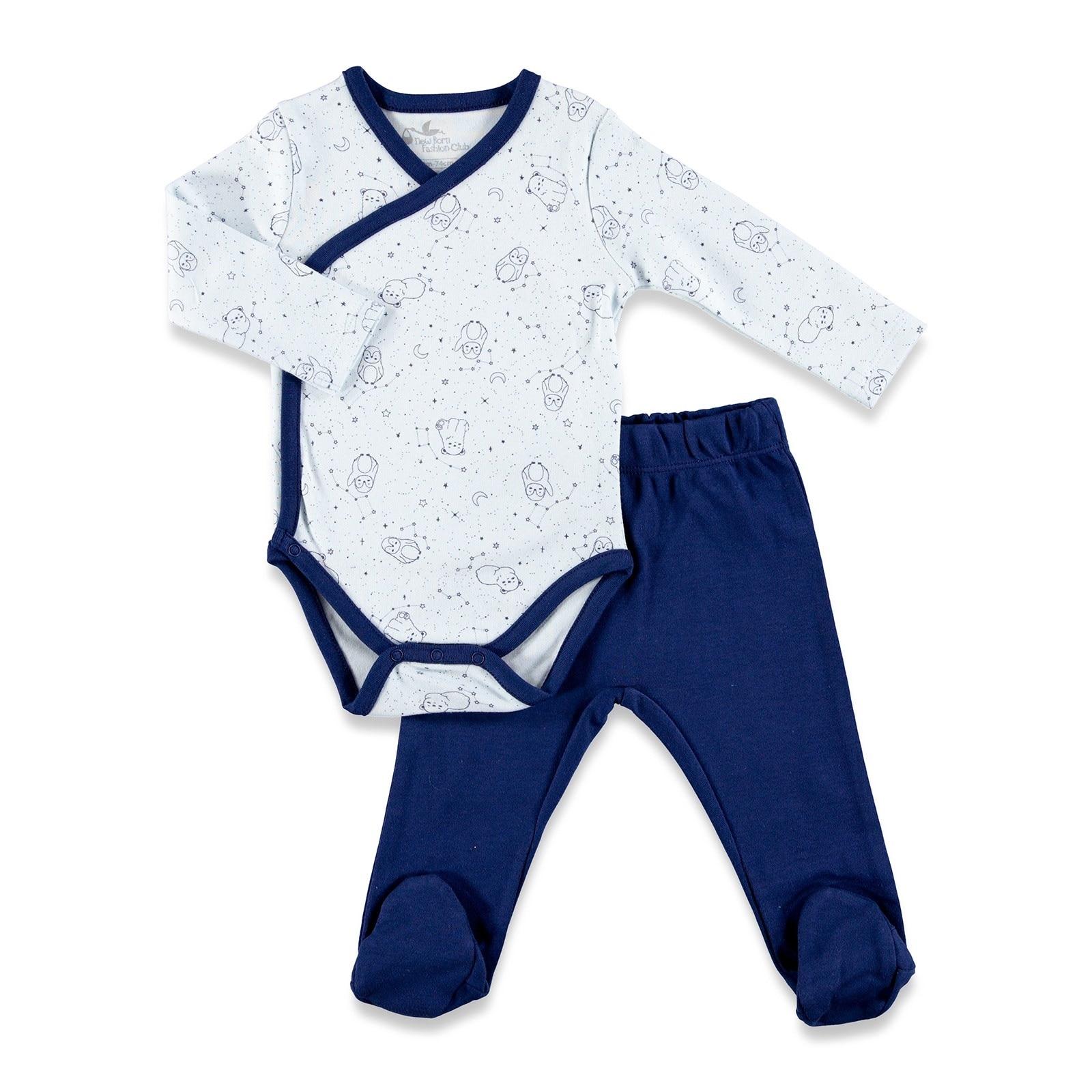 Ebebek Newborn Fashion Club Polar Adventure Baby Bodysuits Footless Pants