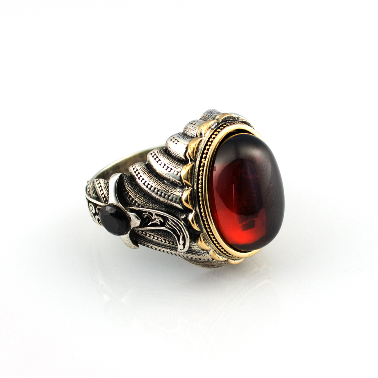 925 Sterling Silver Ring for Men with Red Zircon Stone Jewelry fashion vintage Gift Onyx Aqeq Mens Rings All Size made in Turkey