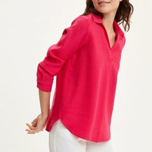DeFacto Woman Long Sleeve Blouse Women Rose Red Blouse Shirts Women's V-neck Blo