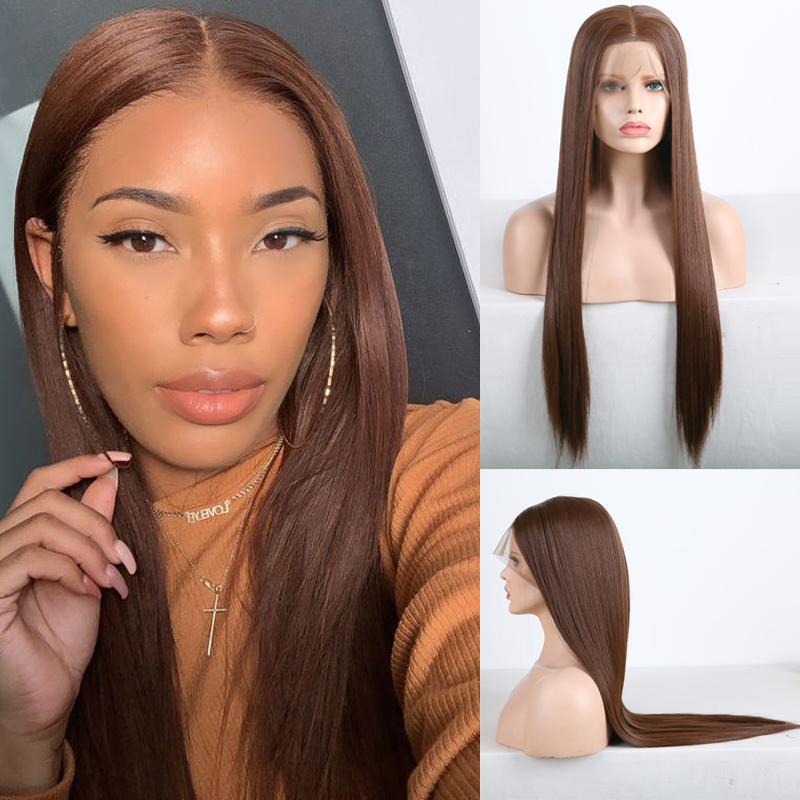 Charisma Long Straight Hair Dark Brown Wig Synthetic Full Lace Wig Heat Resistant Fiber Hair Glueless Wigs For Women