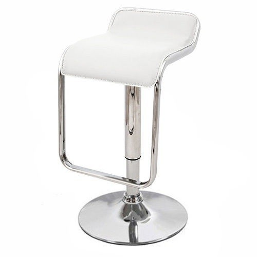 Stool KECK, Plating, Similpiel White