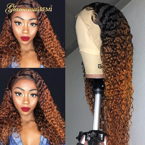 13*4 Peruvian Glueless Kinky Curly Lace Front Human Hair Wigs for Women Bleached Knots with Baby Hair Colored Ombre 1b 30 Wig(China)