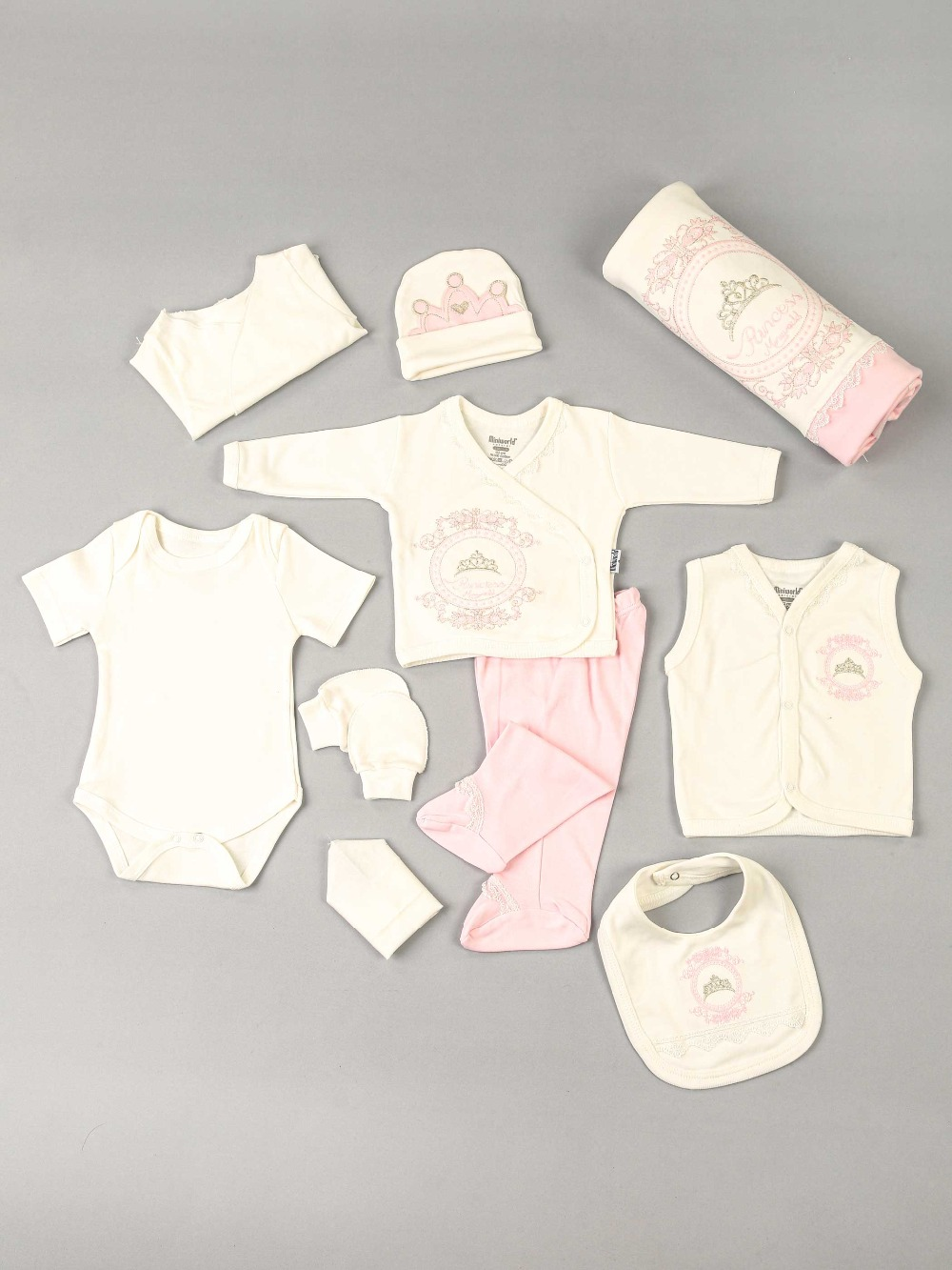 082-14279-021 Krem Yenidoğan 10 lu Kız Bebek Hastane Çıkışı (1)