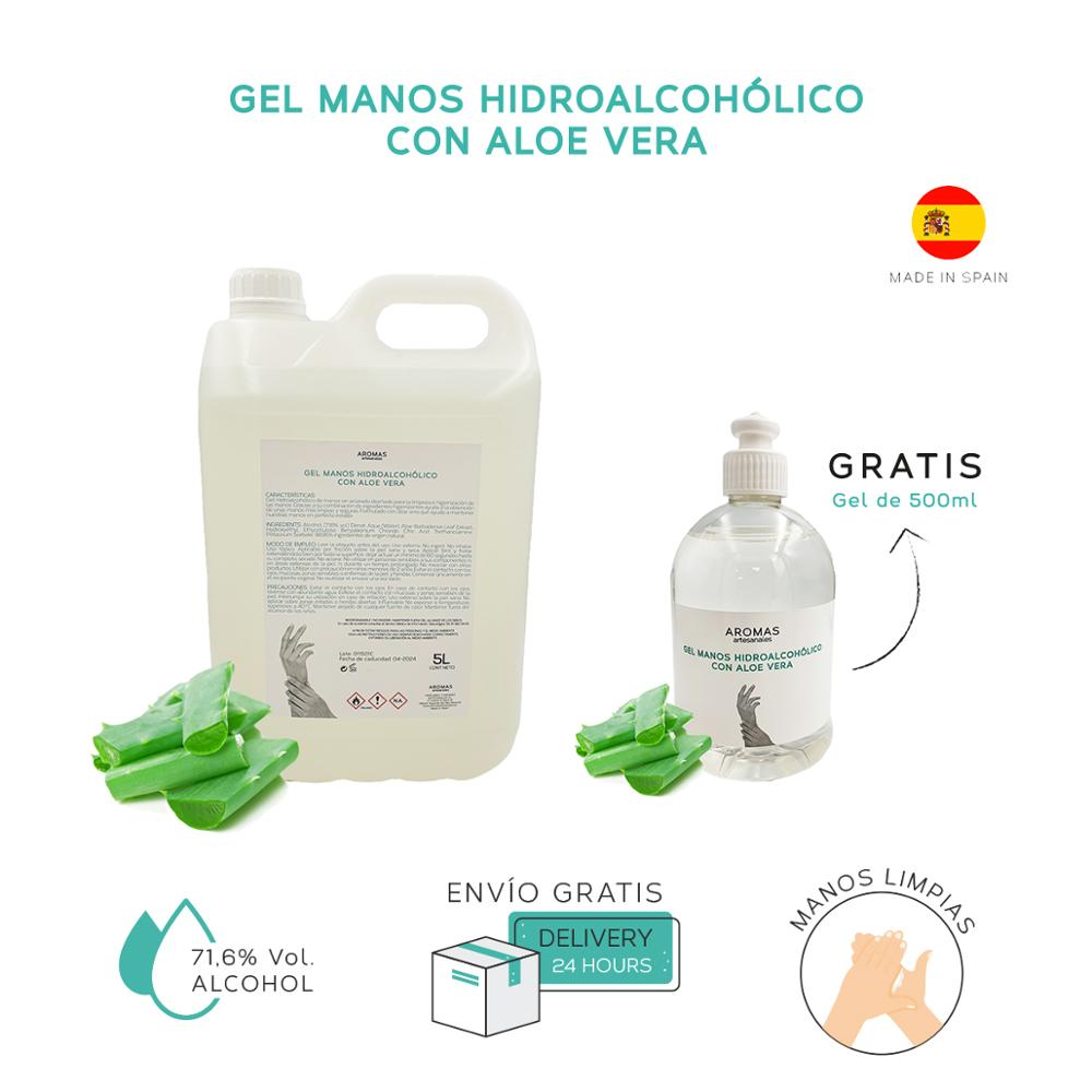 5 Liter-Gel Hands Hidroalcoholico + Gift | With Aloe Vera Gel 500 Ml | Rinse | Hand Sanitizer Hands With Alcohol