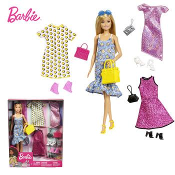 Barbie Doll moda Barbie odzież akcesoria Shimmery sukienka włosy blond lalki Barbie kolekcjonerskie dziewczyny dzieci na zabawki prezent GDJ40 tanie i dobre opinie BY (pochodzenie) Dıy Toy Model SOFT Film i telewizja FASHION DOLL Baby dolls 3+ Ages Small Parts 30 cm 4-6y 7-12y 12 + y