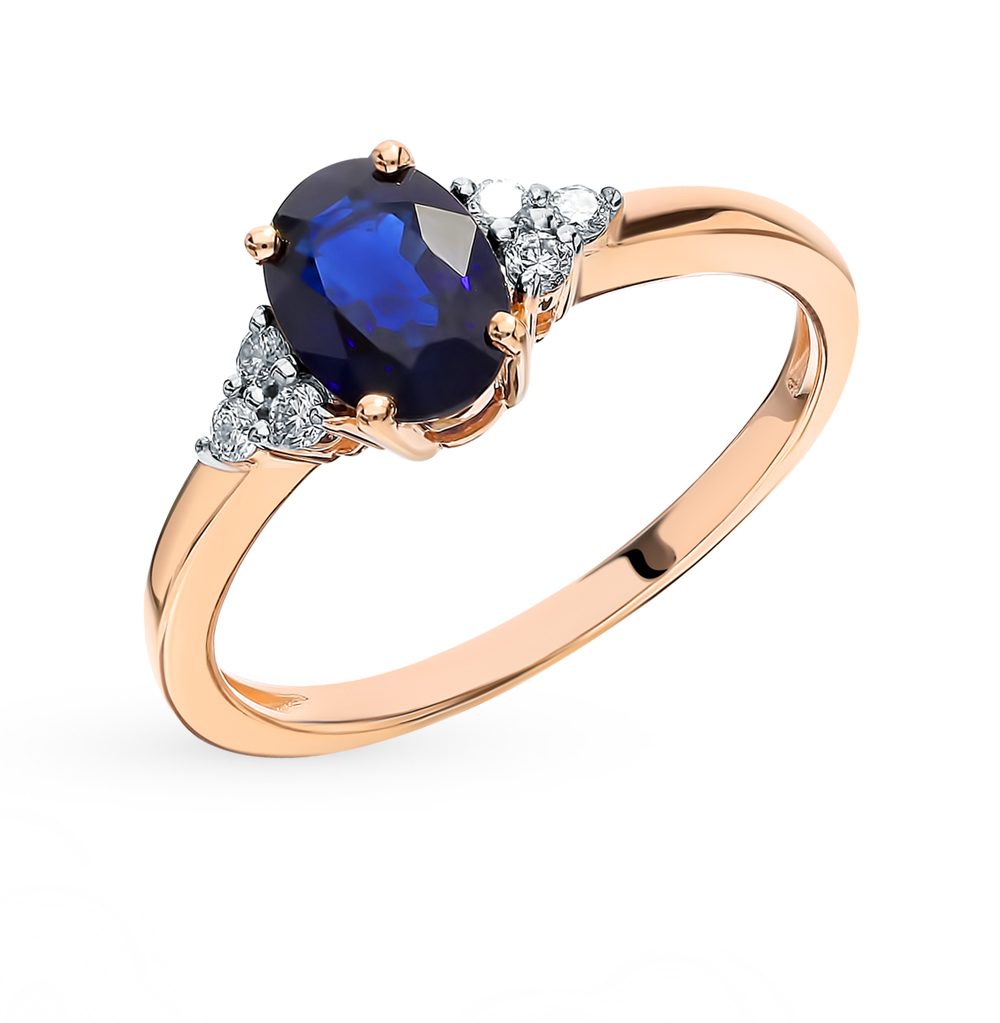 Gold Ring With Sapphire And Diamonds Sunlight Sample 585