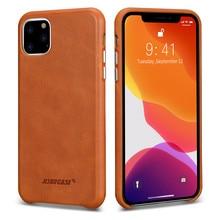 Capa de couro jisoncase para iphone 11pro max, capa de couro genuíno ultra fino, aperto macio antiderrapante, capa resistente a riscos