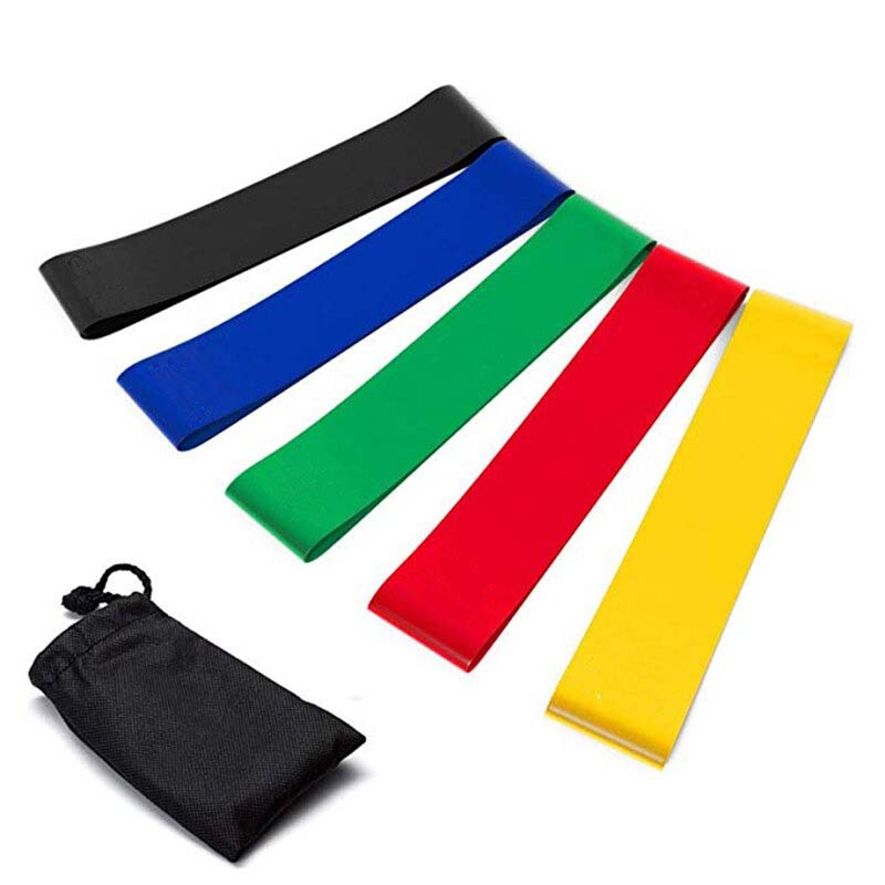 5 Colors Yoga Resistance Bands Set Resistance Exercise Loop Bands for Home Fitness Physical Therapy Natural Latex Workout Bands