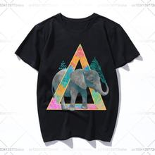 Забавная Мужская футболка со слоном повседневные топы женская