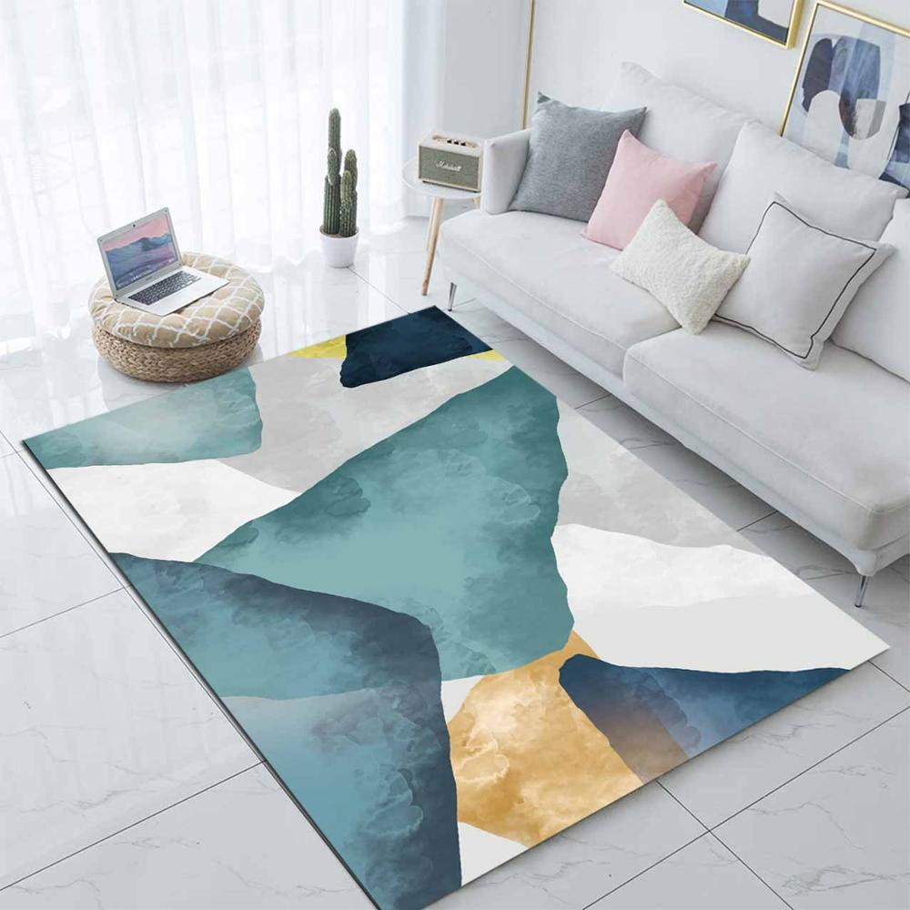 Else Green Yellow Gray Watercolor Abstract 3d Print Non Slip Microfiber Living Room Modern Carpet Washable Area Rug Mat