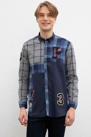 U.S. POLO ASSN. Navy Blue Plaid Regular Shirt