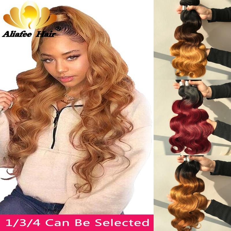 Aliafee волосы бразильские волнистые волосы пряди волос 8 30 дюйм (ов) с эффектом деграде (переход от человеческие волосы переплетения 1/3/4 шт. Волосы remy волос для наращивания