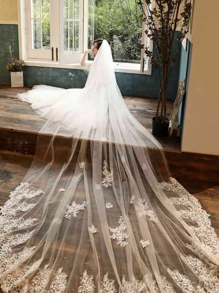 Wedding Veil Two Tier Lace Tulle Cut Edge Classic Bridal Veils