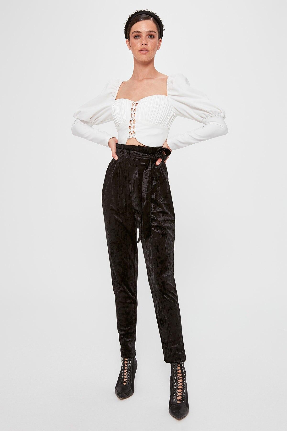 Trendyol Paper Bag Velvet Pants TPRAW20PL0165