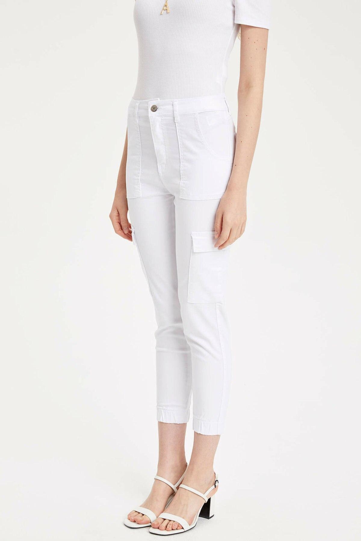 DeFacto Woman Summer White Skinny Pants Women Casual Ninth Pants Female Mid-waist Pocket Decors Bottoms Trousers-L5059AZ19SM