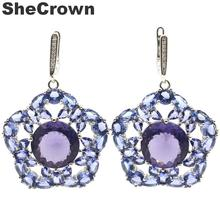 43x34mm Long Big 14g Created Spinel Iolite White CZ Woman's Silver Earrings